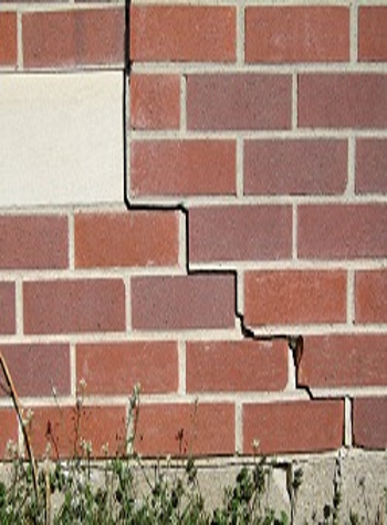 photo of a rotating foundation wall with cracks in Antigonish