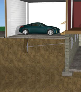 Graphic depiction of a street creep repair in a Shediac home