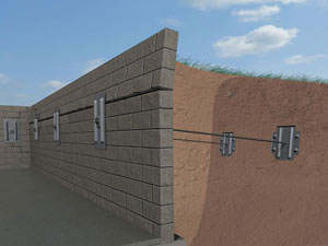 A graphic illustration of a foundation wall system installed in Quispamsis