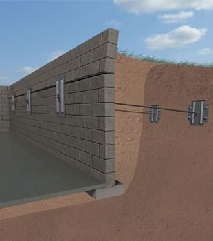 Graphic render of an installed foundation wall anchor system
