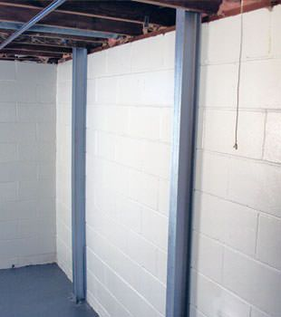 A PowerBrace™ i-beam foundation wall repair system in Moncton