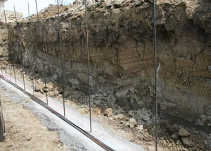 Soil layers exposed while excavating to construct a new foundation in Riverview