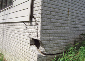 A severely damaged foundation wall in Summerside