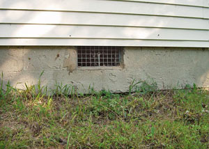 Open crawl space vents that let rodents, termites, and other pests in a home in Lower Sackville