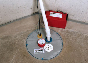 A sump pump system with a battery backup system installed in Quispamsis
