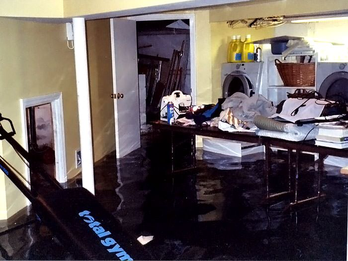 A Laundry Room Flood In Saint John, With Several Feet Of Water Flooded In.