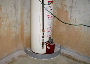 A water heater in Bridgewater that's been protected by the FloodRing® and a perimeter drain system.