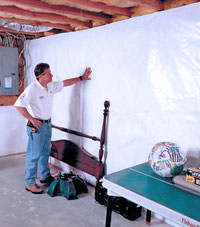Plastic 20-mil vapor barrier for dirt basements, Glace Bay, Nova Scotia & New Brunswick installation
