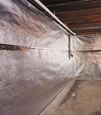 Radiant heat barrier and vapor barrier for finished basement walls in Glace Bay, Nova Scotia & New Brunswick